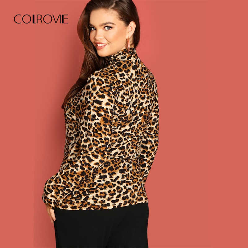 6821cb0f2eae ... COLROVIE Plus Size Leopard Print Turtleneck Fitting Sexy T-Shirt Women  Clothes 2018 Winter Long ...