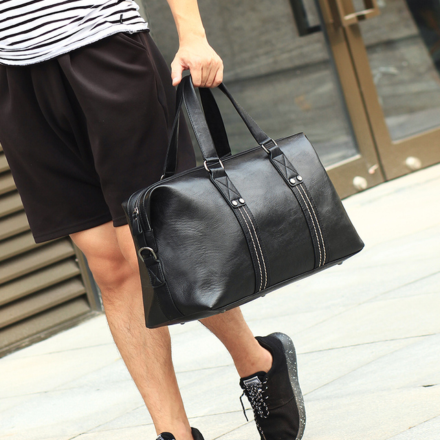 ff0f1b8ba2ae 2018 High Quality Small Business Men leather travel duffle bag sac de voyage  Cossbody Men large Bag bolsa de couro masculina