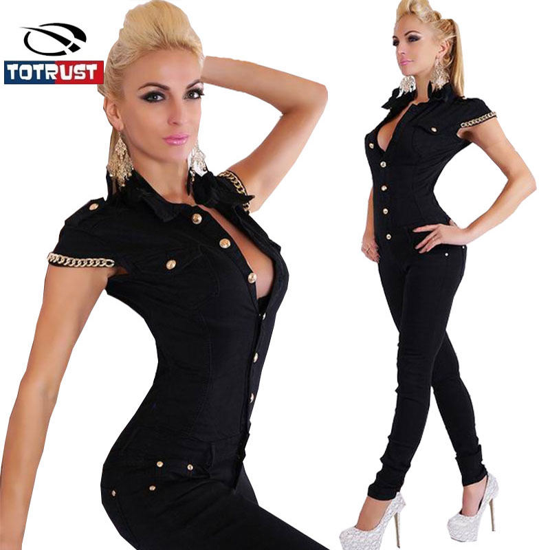 Totrust Black Bodycon Jumpsuit Fashion Jumpsuit Women Overalls Elegant Long Pants -5158