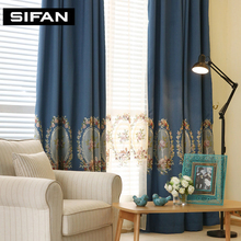 European Embroidered Faux Line Fancy Blackout Curtains for Living Room Window Curtains for Bedroom  Blue/Green Curtain