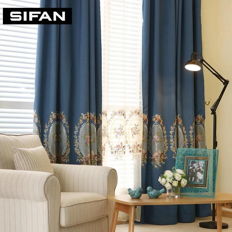 rideaux occultants fantaisie faux fil europeen brode pour fenetre de salon chambre a coucher bleu vert
