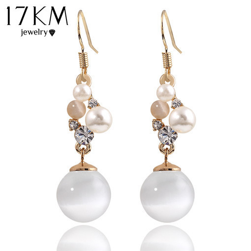 17KM Charm Opal Pendant Long Earrings Gold Color Brand Ladies Cute Earring brinc