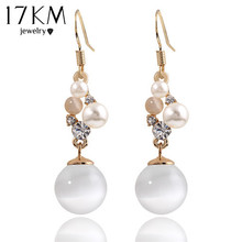 17KM Charm Opal Pendant Long Earrings Gold Color Brand Ladies Cute Earring brincos Dangle Jewelry For Christmas Gift(China)