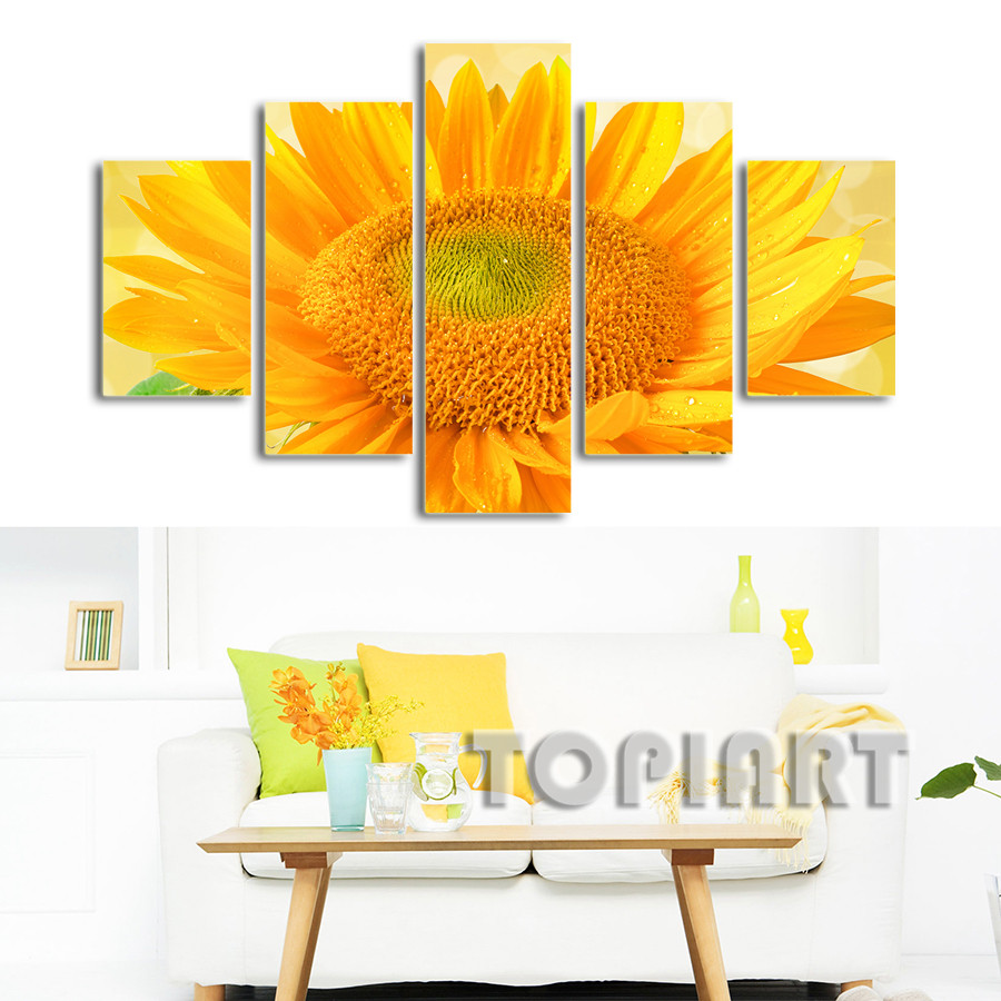 Modern Flower Canvas Art Wall Decor Sunflower in Full Bloom Painting ...