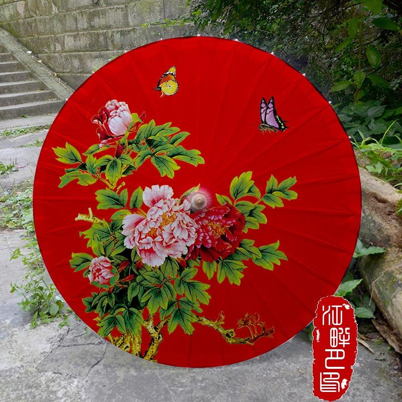 Qırmızı Eleqant Peony Yağlı Rəsm Şemsiyesi Aşiqləri Toy - Ev əşyaları - Fotoqrafiya 1