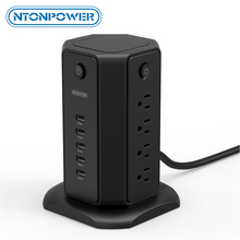 цена на NTONPOWER Power Strip Tower Surge Protector Flat Plug with 8AC 5USB Desktop Charging Station 1.8m Extension Cord for Home Office