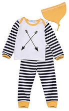 Children Kids Baby Girl Boy Striped Tops Cartoon Long T shirt Long Pants Hat Pajamas Outfits