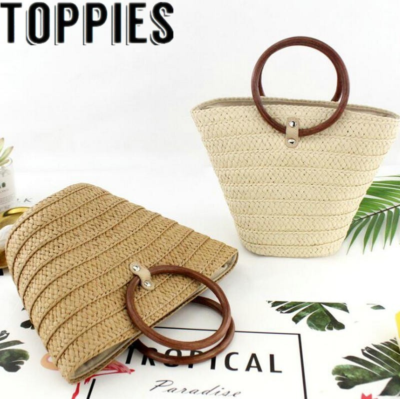 2019 Summer Beach Holiday Straw Bag Drawstring Tote Handbags With Wood Handle Korean Fashion Summer Straw Bag