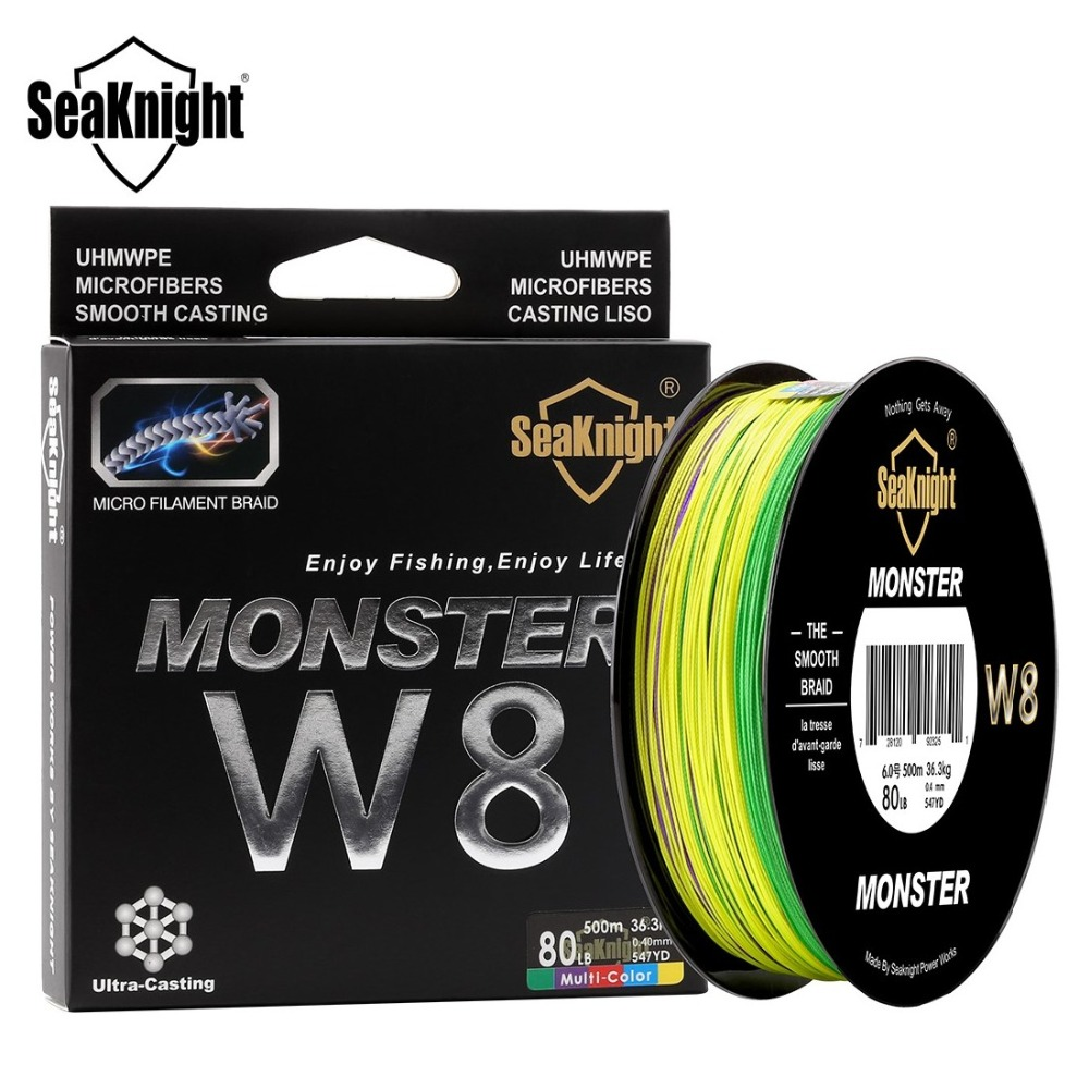 SeaKnight 500M Fishing Line PE 8 Strands 300M W8 Multi-Color Line 15 To 100LB Smooth Braided Lines Carp Fishing For Saltwater