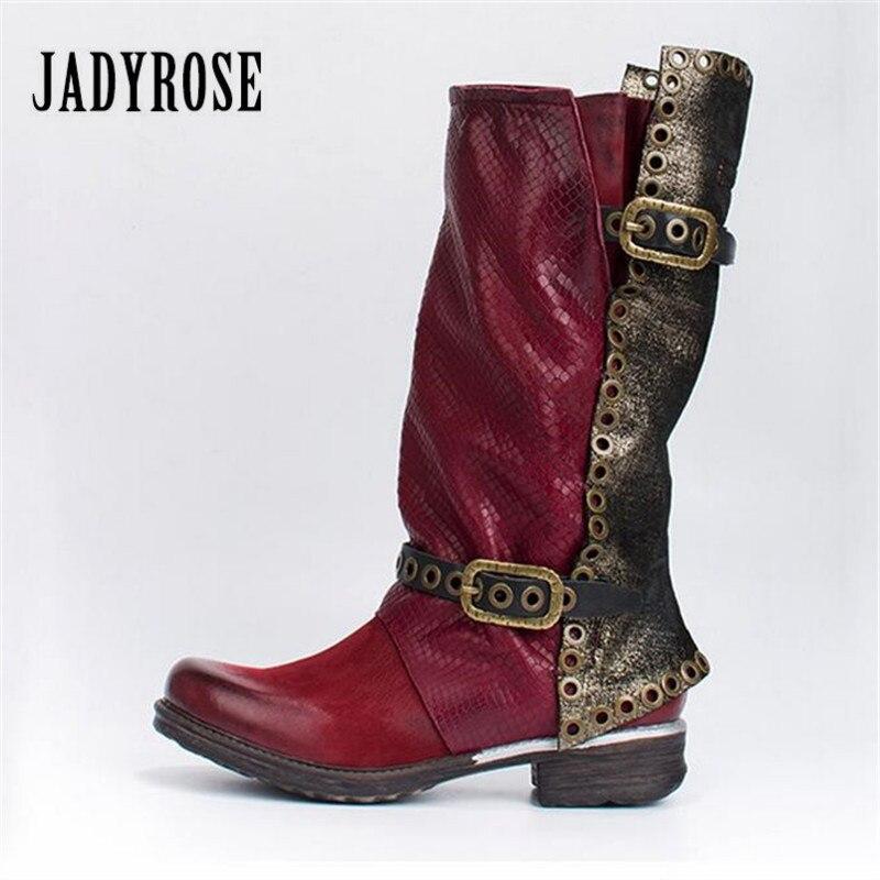 Jady Rose Mode Rouge Automne Hiver Femmes Haute Bottes Véritable Glissière Latérale En Cuir Plat Botas Mujer Rivers Clouté Plate-Forme Bottes
