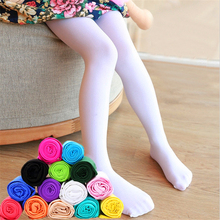 Детские летние однотонные Непрозрачный бархатный белый колготки ярких цветов для девочек, мягкие тянущиеся леггинсы для балета, чулки-1