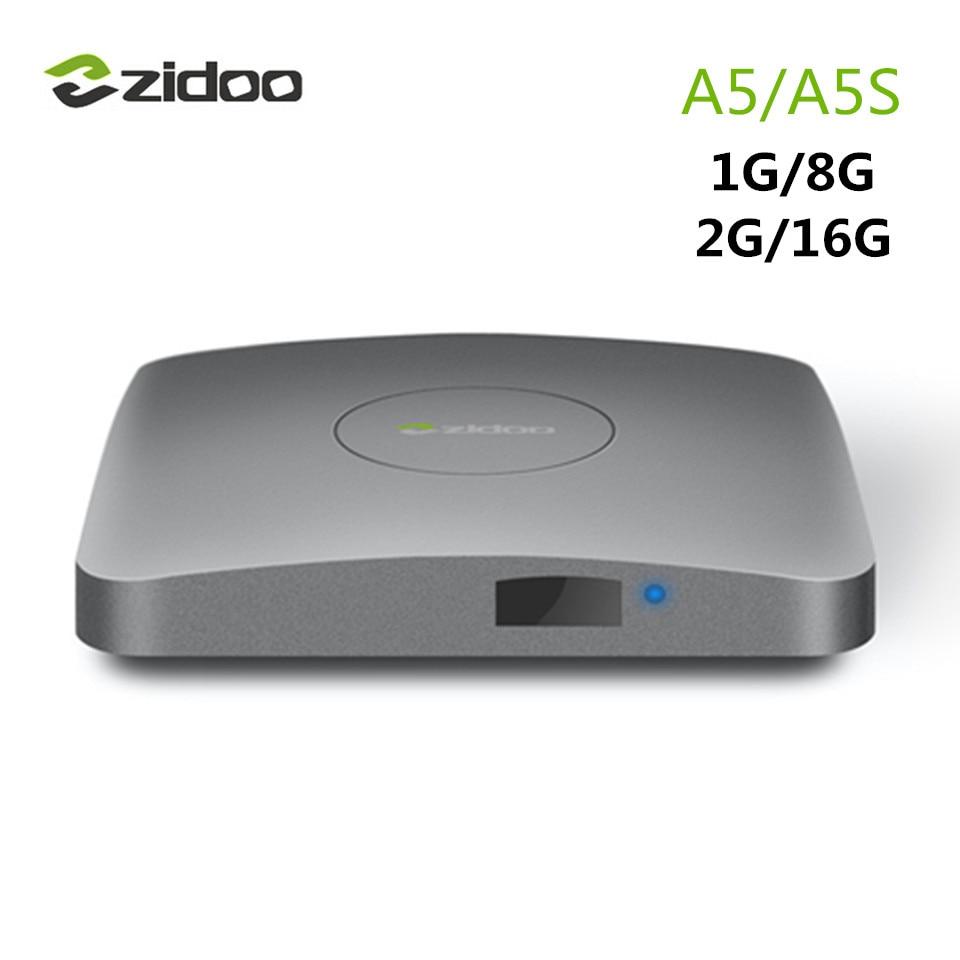 ZIDOO A5/A5S 1G/8G 2G/16G Android 6.0 TV Box S905X Cortex A53 Bluetooth 4.0 WIFI KODI 17.0 Media Player Smart TV Box PK Mi Box zidoo x6 pro 4k2k h265 smart android 51