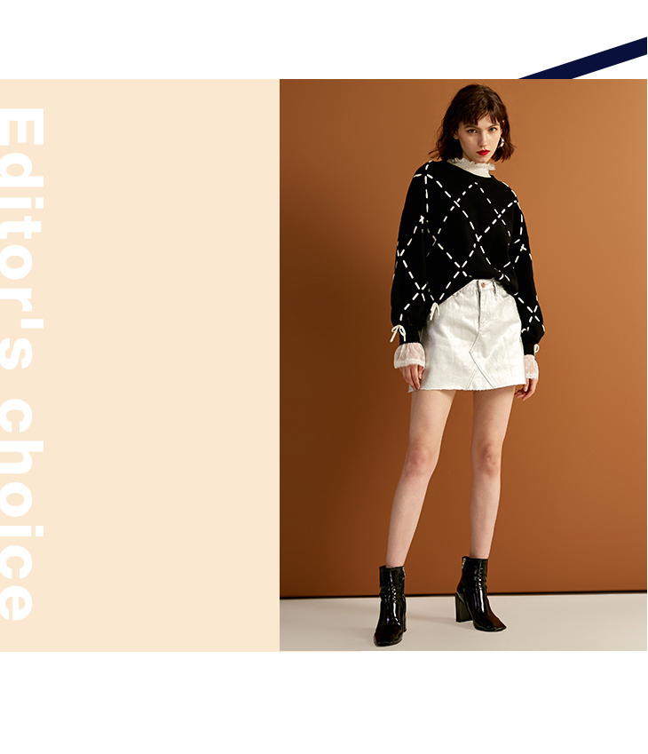 Sexy And Refined Womens Winter Youth New Elegant Loose Rope Lace Knit Sweater Trendy Diamond Lattice Tie-up Classic Design Show 20