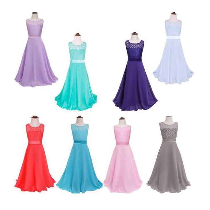 Summer Girls Dress Chiffon Sleeveless Infant Long Dress O Neck Girl Wedding Dresses Lace Kids Party Clothes Children Clothing (2)