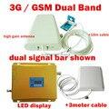 LCD REFORÇO! alto ganho de banda Dupla 2G, 3G, GSM amplificador de sinal de reforço GSM 900 GSM 2100 repetidor DE SINAL dupla barra de sinal