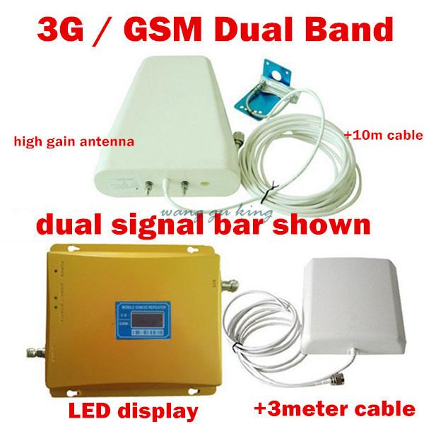 LCD de Doble Banda 3G W-CDMA 2100 MHz GSM 900 Mhz Teléfono Celular amplificador de señal GSM 900 2100 Del Teléfono Móvil Repetidor de Señal Booster amplificador