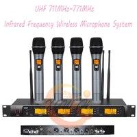 Профессиональный 4x100 каналов UHF Беспроводной инфракрасный частота 4 ручной микрофон Системы аудио караоке Studio Mic