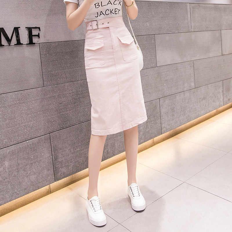 Корейская женская летняя и Весенняя Повседневная модная офисная юбка, длинная юбка до колена с карманами, 2019 новая женская мода