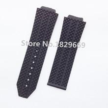 26 mm nuevo Mens negro Litchi grano buceo caucho de silicona Watch band reloj de la correa pulseras