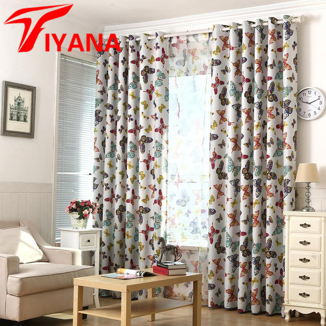 Rural Style Colorful Butterfly Printed Curtains For Living Room Bedroom Kitchen Bay Window Door Cortinas Home