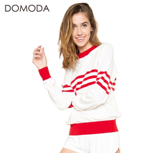 DOMODA Women Fashion Sweater Sweet Casual Slim Chic Pullover Red Striped White Sexy Ribbed Female Sweater Warm Basic Sweater