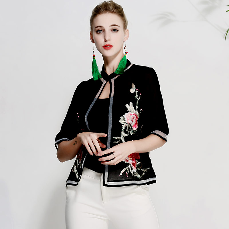 Women tops royal embroidered vintage floral short coat lady casual Chinese style elegant summer thin jacket coat female M-XXXL