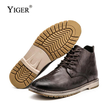 YIGER New Mens Boots Winter Pointed Toe Man Big Size shoes Ankle Lace-up Leather Martins  0145