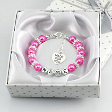 New Personalised Girl Birthday Wedding Gift Charm name Bracelet Daughter With Box-rose red
