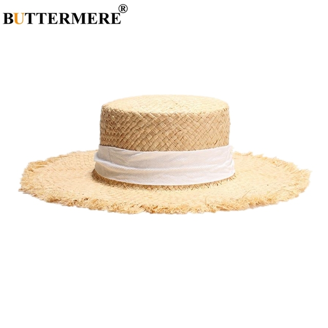 BUTTERMERE Brand Women Boater Raffia Straw Sun Hat Ladies Spring Summer Wide Brim Fashion Casual Lace-Up Ladies Beach Flat Cap