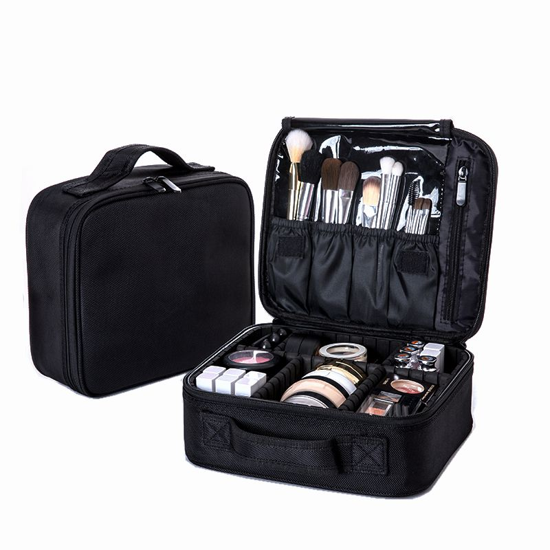 Women Professional Cosmetic Bag Large Waterproof Travel Makeup Bag Trunk Zipper Make Up Organizer Storage Pouch Toiletry Kit Box for 2014 mazda 6 atenza abs chrome rear bumper trim car accessories