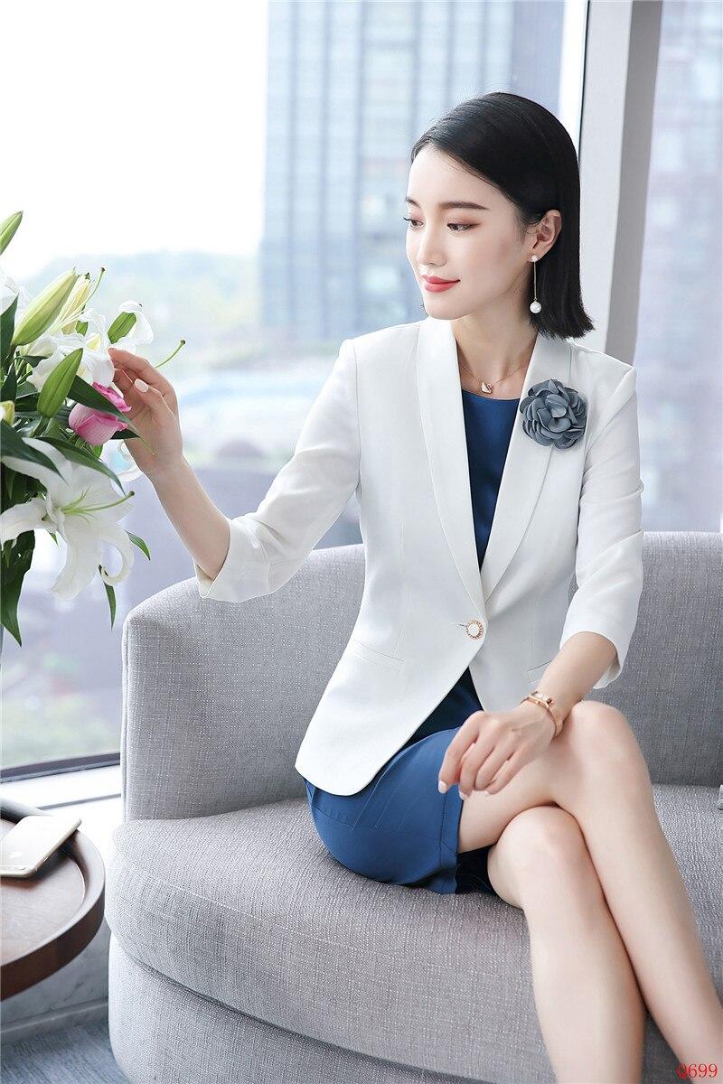 Work Mode Femmes Style Robe Ensembles Blazer Uniforme Blanc Ladies Et D'affaires Costumes Vestes Bureau Wear fAwfzrq