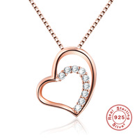 New Double Heart Rose Gold 925 Sterling Silver Necklace Fashion Simple Foreign Trade Cross Border Explosion Jewelry Necklace