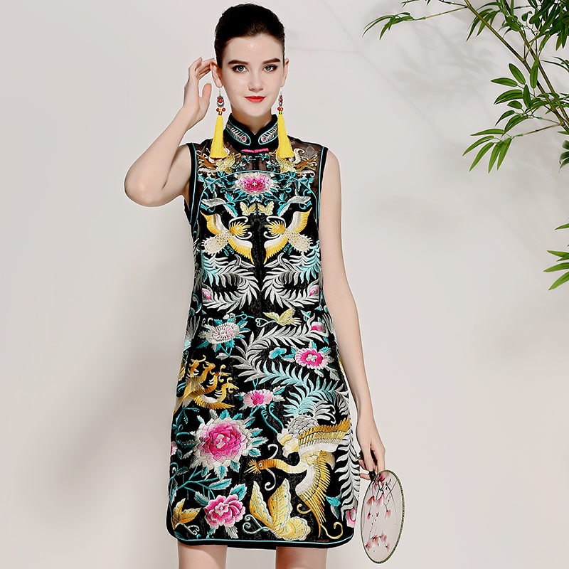 High-end summer women Chinese style floral midi embroidery dress elegant lady sleeveless Mandarin collar Qipao party dress M-XXL худи print bar electro dragon