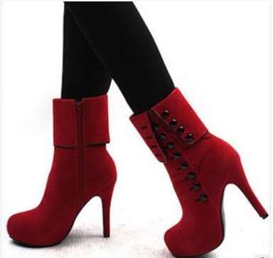 2018 Kadın Botları Yüksek Topuklu Moda kırmızı ayakkabılar Kadın Platformu Akın Toka Kışlık Botlar Bayan Ayakkabı Kadın Botas Femininas