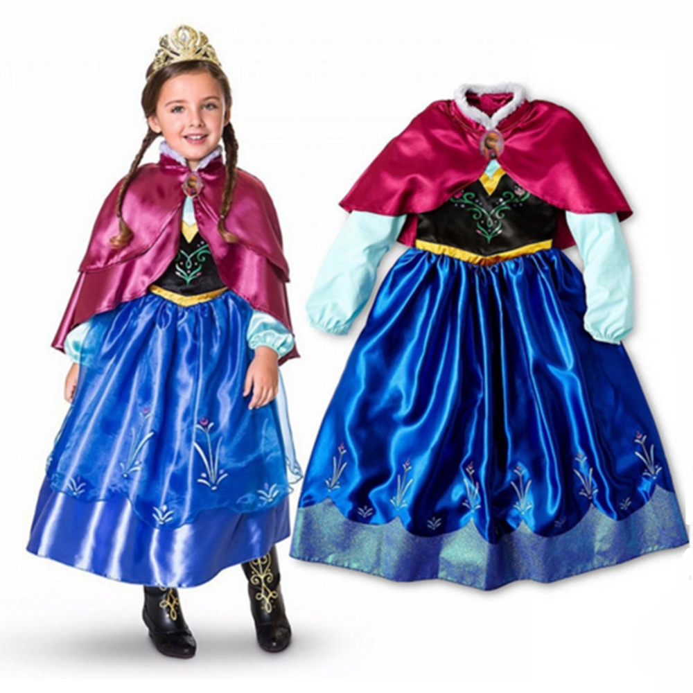 FINDPITAYA Girl Anna Cold Weather Costume Double Layers Cape with Fur Kid Carnival Princess Cosplay Outfit Dress Xmas Ball Gown