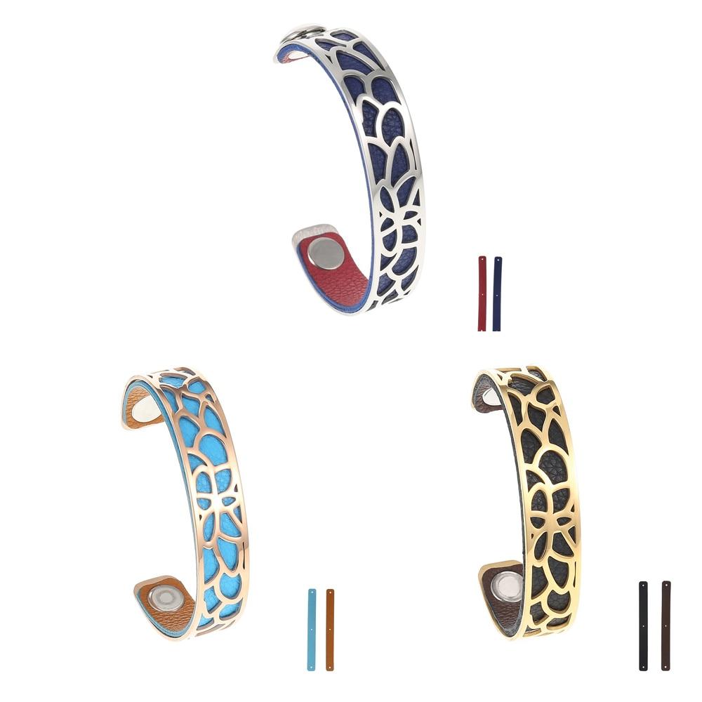 Legenstar Lotus Opening Cuff Bangle for Women 14 mm Stainless Steel Arm Bracelet Interchangeable Leather Pulseiras Wholesale