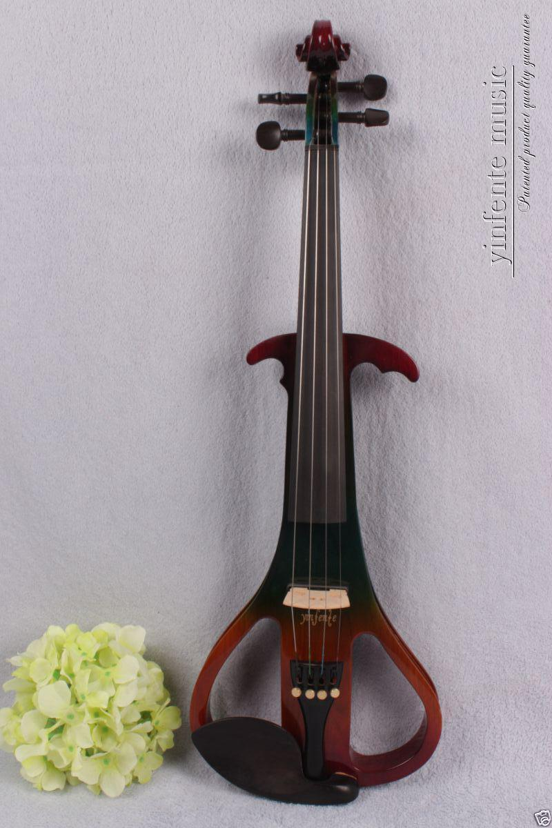 New 4/4 Electric violin Powerful Sound silent ebony parts solid wood #1342 00120 1 4 string brown 3 4 new electric upright double bass finish silent powerful sound