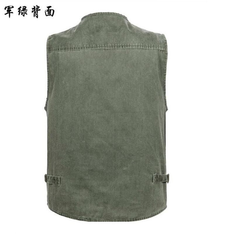 2016 New Autumn Tactical Sleeveless Denim Jacket Vest Mens Casual Multi-pockets Photography Cameraman Vest Size XL-5XL