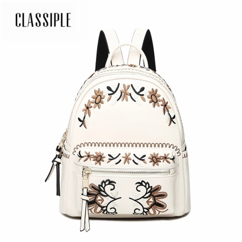 School Bags For Girls Backpacks For Women Embroidery National White Backpacks Females Shoulder Bags Girls Casual Ladies Bag