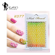 2016 Reusable Easy Stamping Tool DIY Nail Art Hollow Template Stickers Stamp Stencil Guide For UV Gel Nail Art Decorations K1094