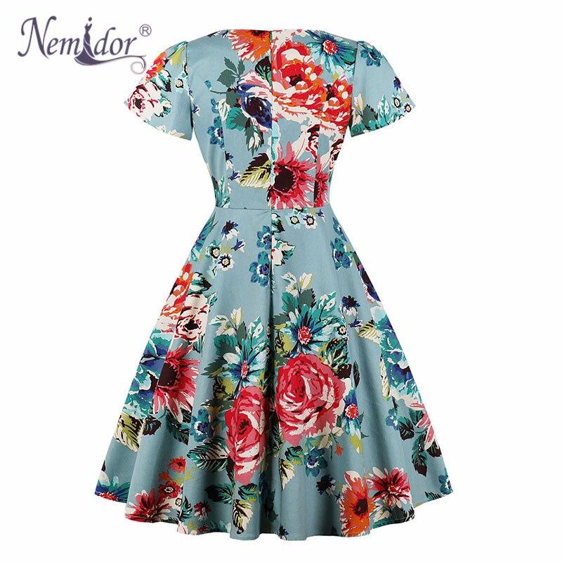 46865f1d194 2019 Nemidor Women Vintage 50s Floral Print Short Sleeve Plus Size ...