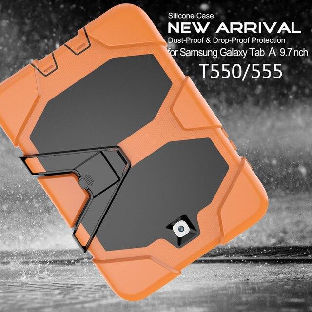 Amor ヘビーデューティケース三星銀河タブ 9.7 SM T555 T550 T551 T555 P555 P550 タブレットケースソフトシリコン + Pc 背面カバー