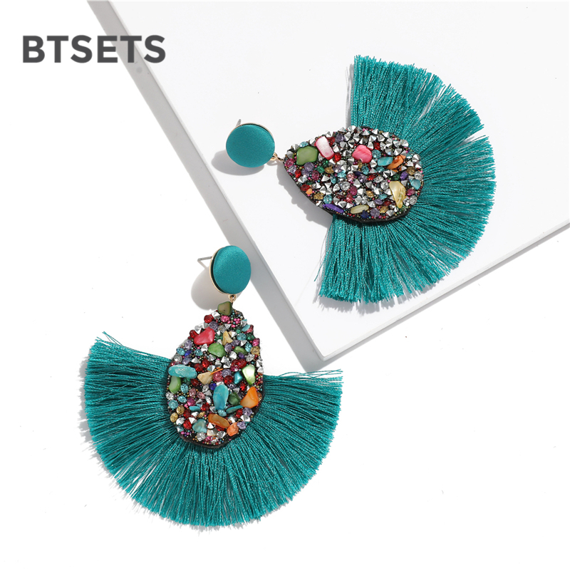 BTSETS Colorful Crystal Tassel Earrings For Women Charm Earings Fashion Jewelry Wedding Bridal Statement Fringe Earring(China)