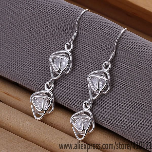 E204 Hot sale silver plated jewelry, Wholesale Factory price fashion Inlaid Double Frame Earrings dlkamcra ewsannza