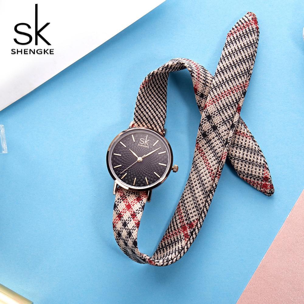 Shengke Wristwatch Women Canvas Belt Ladies Vintage Watch Plaid Classical Watches Fabric Clock Relogio Feminino Christmas Gifts