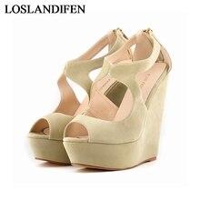 2018 Fashion Thick Platform Wedge Sandals Comfortable High Heel Shoes Ankle Buckle Hot Sale Women  NLK-C0097