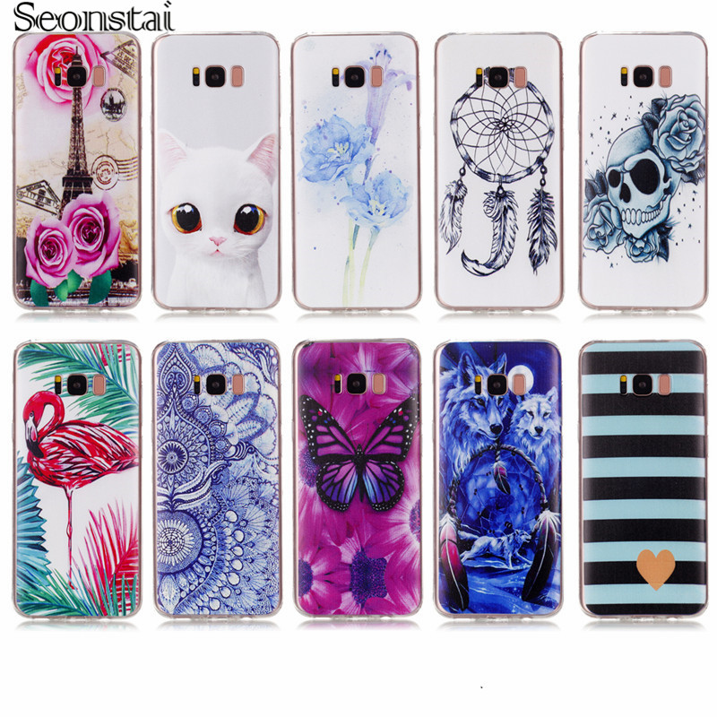 Seonstai Soft TPU Pattern Phone Case For Samsung Galaxy S6 S7 EDGE S8 Note 8 For Samsung A310 A510 A3 A5 2017 Printed Back Cover
