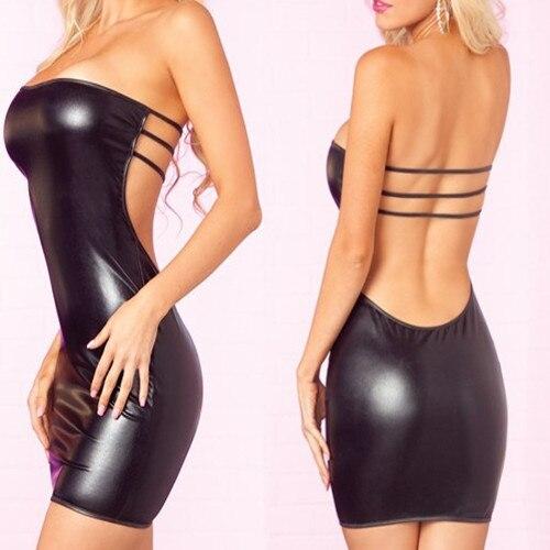 Adult Women Sexy Lingerie Mini Strapless Leak Back PU Faux Leather Dress