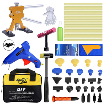 PDR Paintless Dent Repair Tools Auto Dent Pullers Suction Cup Glue Tabs Hail Dent Removal Tool with Tool Bag Hot Melt Glue Gun