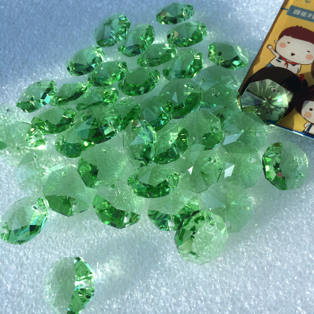 2000pcs/lot 14mm two holes crystal glass octagon beads Ligth green for crystal chandelier garland strands Parts free shipping ...